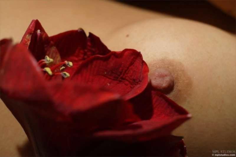 Мария играет с красивым красным цветком